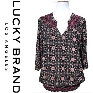 Lucky Brand Embroidered Gathered Split Neck Top